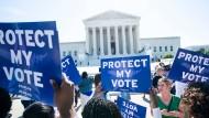 Demonstration vor der Urteilsverkündung im Supreme Court