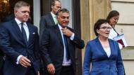 Gegen Merkel: Robert Fico und Viktor Orbán