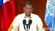 Unterstellt seinen Gegnern, sie handelten aus Böswilligkeit und betrieben Anti-Regierungs-Propaganda: der philippinische Präsident Rodrigo Duterte bei seinem virtuellen Auftritt vor der UN-Vollversammlung
