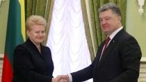 Auf Staatsvisite in Kiew: Litauens Präsidentin Dalia Grybauskaite und der ukrainische Präsident Petro Poroschenko