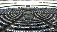 Der Plenarsaal des Europäischen Parlaments in Straßburg