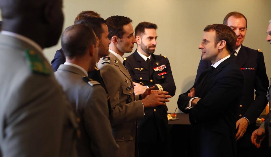 Macron am 7. Februar an der Ecole Militaire, wo er eine Rede zur nuklearen Abschreckung hielt.