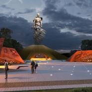 Computer-Visualisierung des neuen Mahnmals für die Schlachten von Rschew auf der Website des Projekts