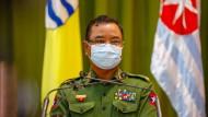 """""""Wir schießen mit Disziplin"""": Myanmars Militärsprecher, aufgenommen am 26. Januar in Naypyitaw"""