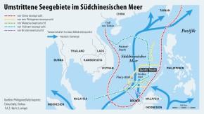 Infografik / Karte / Umstrittene Seegebiete im Südchinesischen Meer