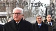 """Bundespräsident Frank-Walter Steinmeier vor dem Tor mit dem Schriftzug """"Arbeit macht frei"""""""