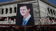 Porträt von Baschar al Assad nahe Damaskus