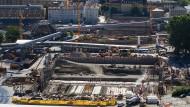 Milliardengrab Stuttgart 21?: Die Baustelle des Tiefbahnhofs Ende August.
