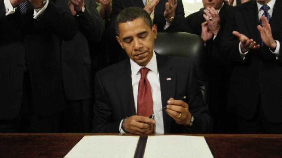 Obama nach der Unterzeichnung der Verfügung über die Schließung des Gefangenenlagers in Gunatánamo