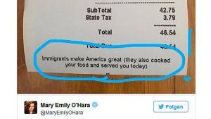 Restaurant druckt Protest gegen Trump auf Rechnungen