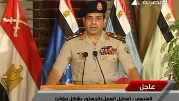 Nach dem Aufstand des Militärs gegen Präsident Mohammed Mursi ist die Verfassung vorrübergehend außer Kraft gesetzt worden.