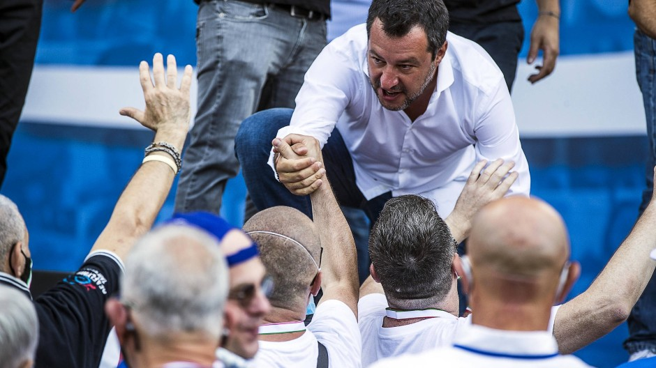 Wider Willen Helfer der EU? Italiens Populistenführer Matteo Salvini bei einer Kundgebung in Rom am 4. Juli