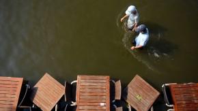 Ende Juli in Münster: die überschwemmte Uferpromenade am Aasee