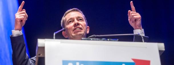 Wer ist der Chef im Ring? AfD-Bundessprecher Bernd Lucke auf dem Landesparteitag in Bayern