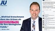Der Bundestagsabgeordente Nicolas Löbel auf einem Wahlplakat der Jungen Union vor der Landtagswahl in Baden-Württemberg im März 2016