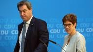 Markus Söder und Annegret Kramp-Karrenbauer wollen gemeinsam Erfolg für die Unionsparteien.