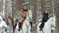 Der nordkoreanische Machthaber mit seiner Frau Ri Sol-ju auf einem von der nordkoreanischen Nachrichtenagentur verbreiteten undatierten Bild