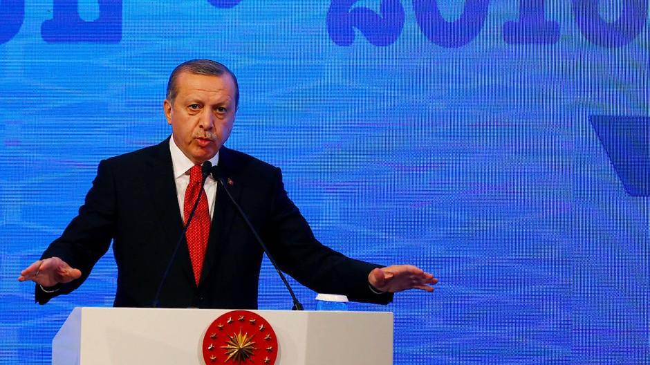 Der türkische Staatspräsident Recep Tayyip Erdogan bei einer Rede in Istanbul