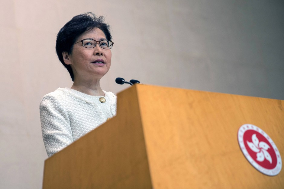 Hongkongs Regierungschefin Carrie Lam am Dienstag in Hongkong
