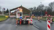 Der Grenzübergang zwischen Harrislee bei Flensburg und Padborg in Dänemark im März