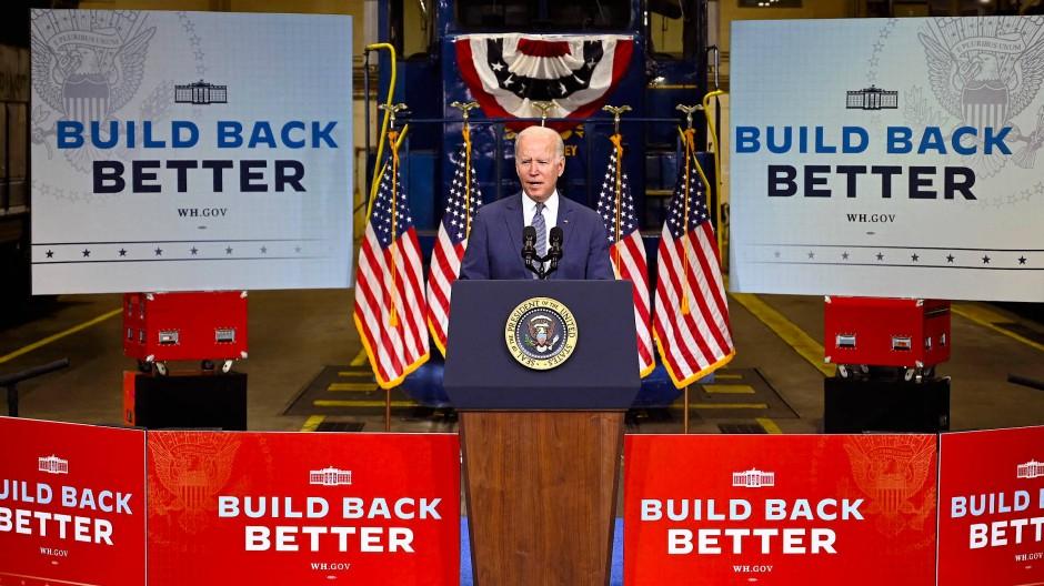 Joe Biden wirbt am Montag in New Jersey für seine Agenda