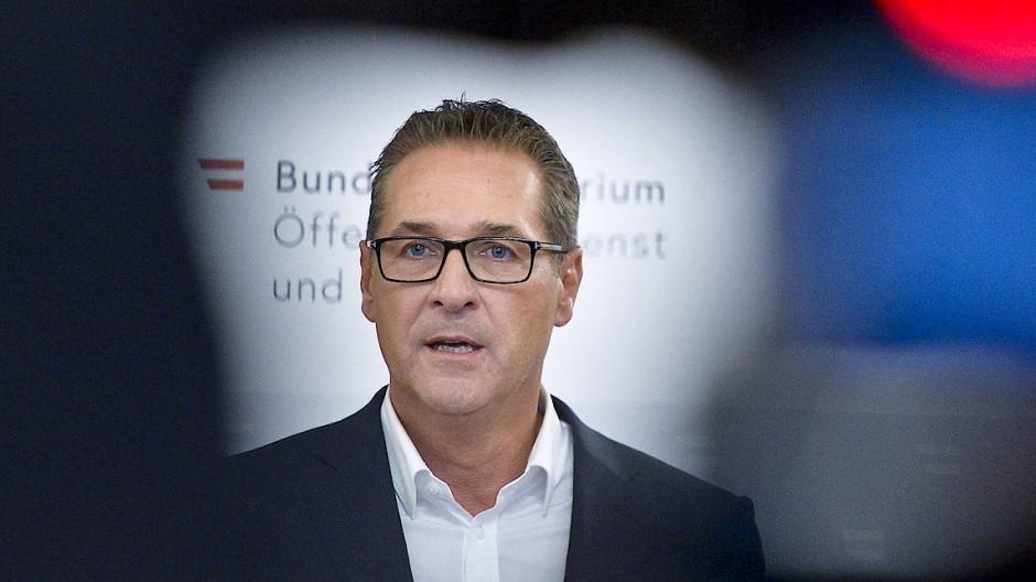 """Stürzte 2019 über die """"Ibiza-Affäre"""": Heinz-Christian Strache, damals FPÖ-Parteiobmann und Vizekanzler von Österreich (Aufnahme aus dem Jahr 2018 in Wien)"""