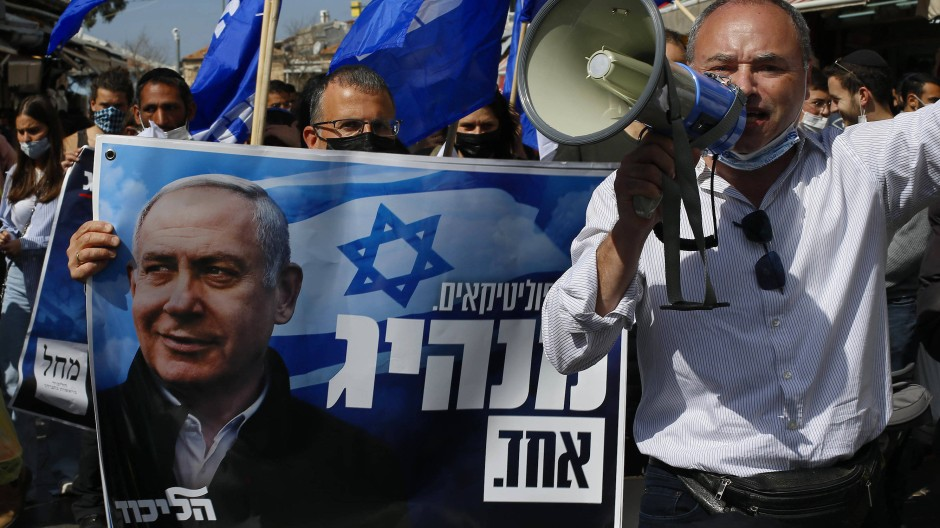 Netanjahu-Anhänger im März in Jerusalem