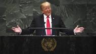 Präsident Donald Trump während seiner Rede zu den United Nations am 25. September 2018 in New York.