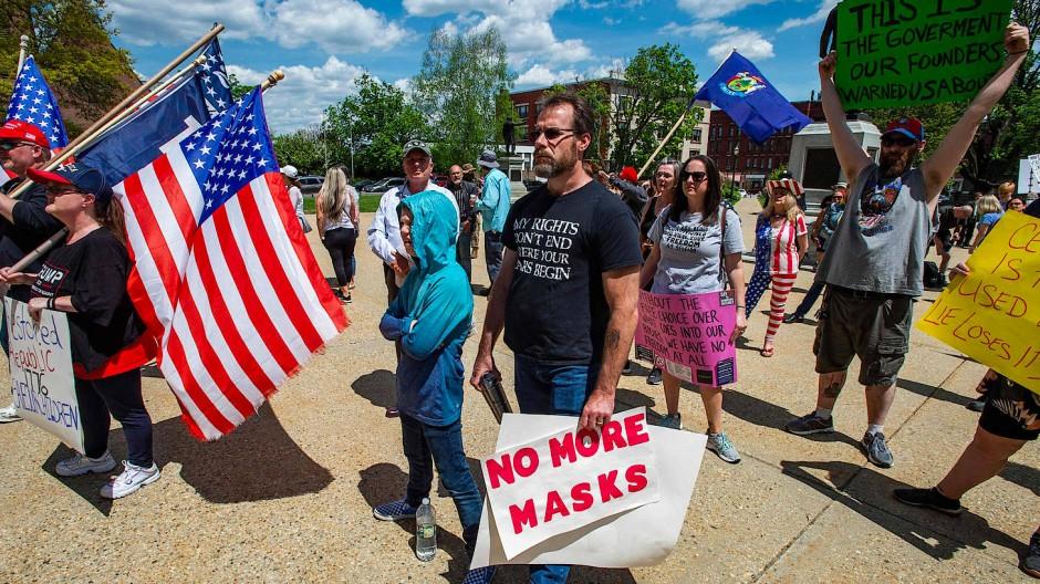Impfgegner demonstrieren im Mai diesen Jahres in Concord im Bundesstaat New Hampshire.