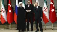 Astana-Format: Hassan Ruhani, Recep Erdogan und Wladimir Putin im April in Ankara