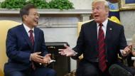 """""""Alles auf einmal wäre schön"""": Beim Treffen mit Südkoreas Präsident Moon wollte Trump sich aber nicht festlegen."""