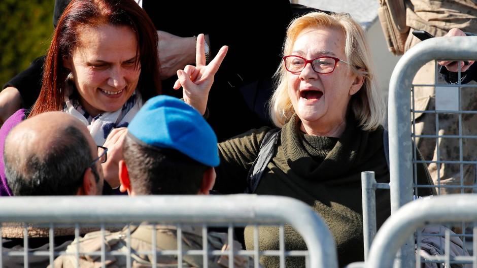 Mucella Yapici, eine der im Gezi-Prozess Freigesprochenen, am Dienstag in Silveri