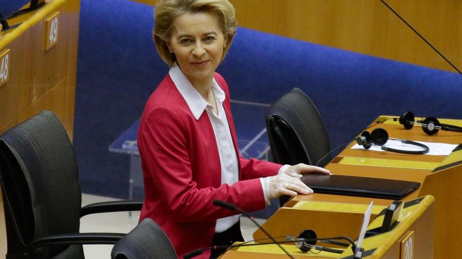 Ursula von der Leyen vergangene Woche im fast leeren Parlamentssaal