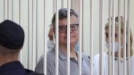 der Oppositionelle Viktor Babariko am Dienstag vor Gericht in Minsk, Belarus