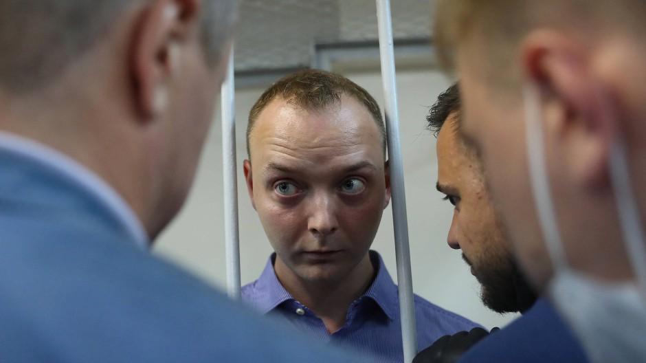 Der frühere Journalist Safranow am Dienstag bei einer Anhörung in Moskau.
