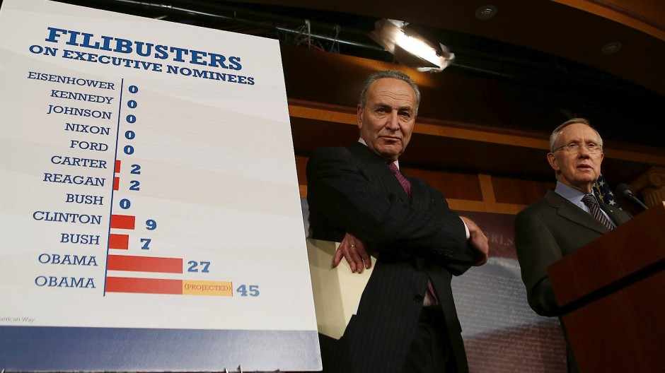 Der damalige demokratische Mehrheitsführer Harry Reid (rechts) und Chuck Schumer präsentieren eine Statistik über die Häufigkeit des Filibuster im November 2013 in Washington.