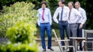 Unüberbrückbare Differenzen: Die Parteivertreter Jesse Klaver (Grüne), Mark Rutte, Alexander Pechtold und Sybrand Buma (CDA) am Montag in Den Haag