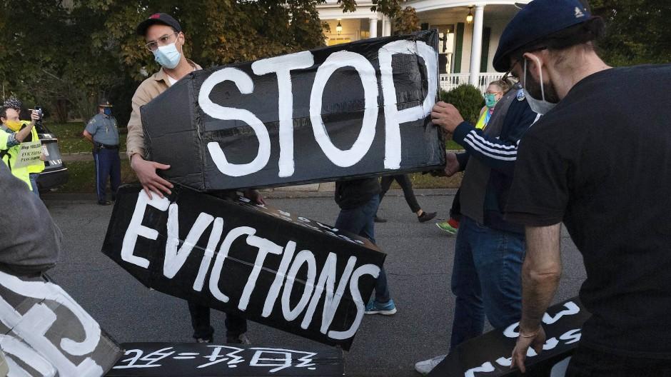 Demonstrationen gegen Zwangsräumungen im Oktober 2020 in Swampscott