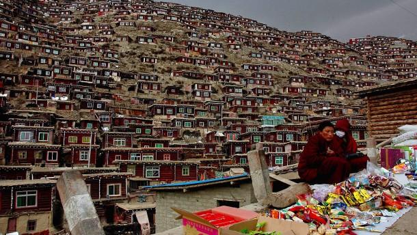 Mit Baggern gegen Buddhisten