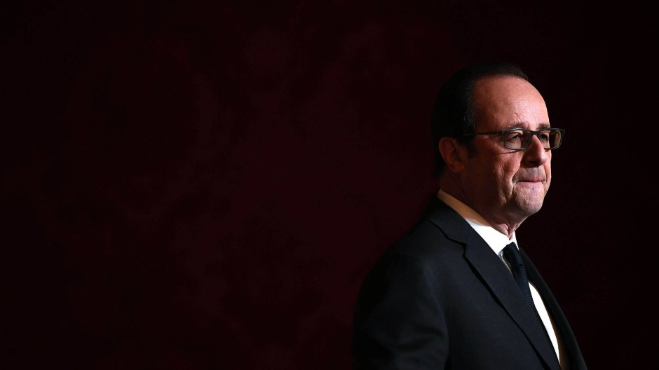 Der sichtlich bewegte François Hollande bei der Ankündigung seines Verzichts auf eine abermalige Kandidatur.