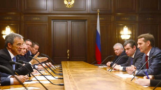 Member of French Parliament Mariani talks to Russian State Duma speaker Naryshkin during meeting at State Duma in Moscow