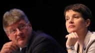 Die Stimmung bei der AfD-Spitze ist angeschlagen. Der Bundesvorsitzende Jörg Meuthen (links) versucht in den eigenen Reihen für Ruhe zu sorgen.