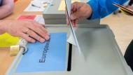 Ein Wähler wirft seinen Stimmzettel zur Europawahl in Dresden in die Wahlurne.