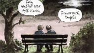 Zu gut, um nur einmal gedruckt zu werden: Merkel und Schulz, beim Aussitzen des Wahlkampfs