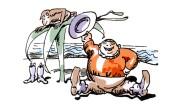 Was für ein Affentheater: Raffzahn am Strand, seinen Panama-Hut schwenkend, vor einer Briefkastenpalme.