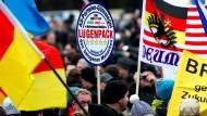 Die Demonstranten in Dresden drückten ihren Widerwillen gegen die etablierten Parteien deutlich aus.