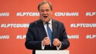 Der neue CDU-Vorsitzende Armin Laschet am Samstag beim Online-Parteitag der CDU Baden-Württemberg