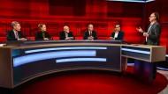 """Dieter Köhler (3. von links) bei """"hart aber fair"""" am 21. Januar: Der Facharzt für Pneumologie sucht die mediale Öffentlichkeit."""