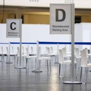Corona-Modus: In der Frankfurter Festhalle ist ein Impfzentrum eingerichtet worden.