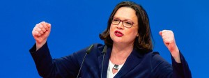 Kämpferisch: Andrea Nahles bei ihrer Bewerbungsrede auf dem SPD-Parteitag